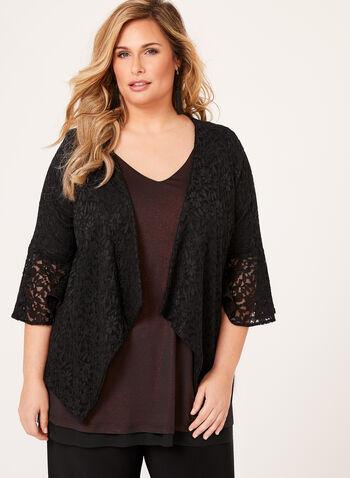 3/4 Sleeve Lace Jacket, Black, hi-res