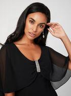 Chiffon Cape Dress, Black, hi-res