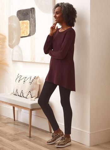 Asymmetric Rib Knit Sweater, Purple,  fall winter 2021, sweater, rib knit, asymmetric, asymmetrical, knit, knitwear, jewel neck, scoop neck, long sleeve, ribbed, ribbing, high-low hem