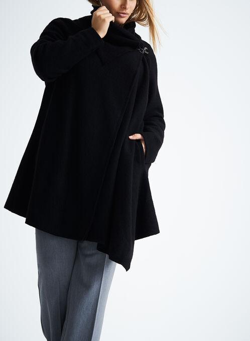 Asymmetrical Wool Coat, Black, hi-res