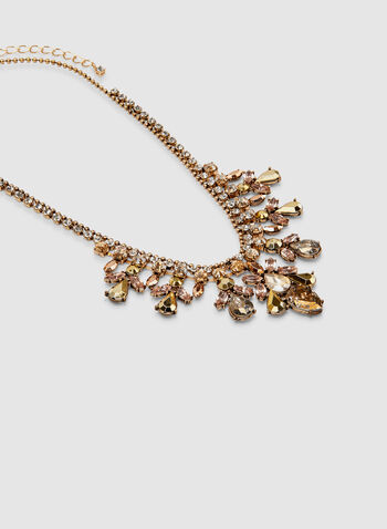 Faceted Crystal Necklace, Gold, hi-res