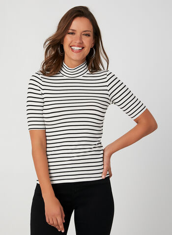 Stripe Print Top, White, hi-res,  stripe, stand up collar, elbow sleeve, fall 2019, winter 2019