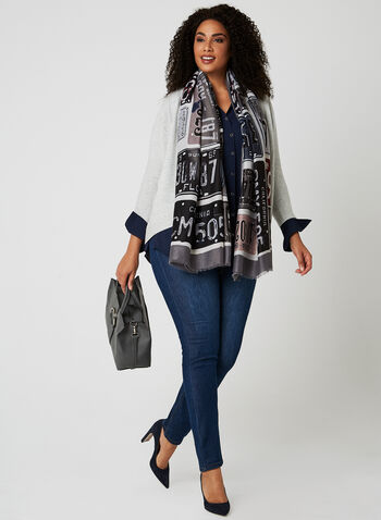 Open Front Knit Cardigan, Silver, hi-res