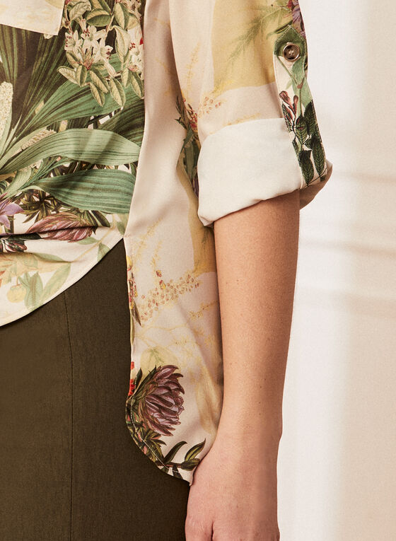 Floral Print Long Sleeve Blouse, White