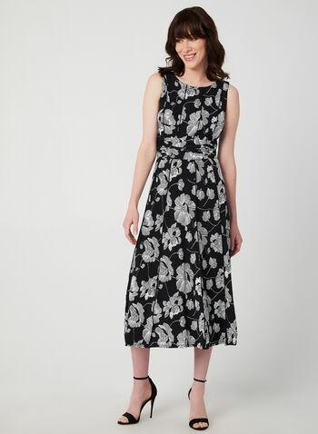 Floral Print Sleeveless Dress, Black,  sleeveless, floral print, jersey, ruching, fall 2019, winter 2019
