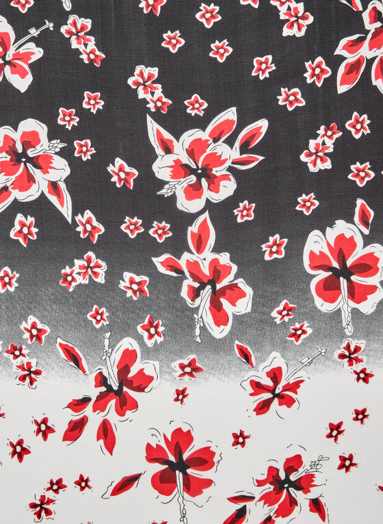 Foulard léger fleuri, Rouge, hi-res