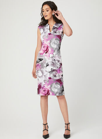 Floral Print Sheath Scuba Dress, Grey, hi-res