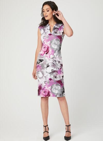 Floral Print Sheath Scuba Dress