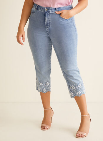 Embroidered Hem Slim Leg Capri, Blue,  capri, embroidery, scallop, slim legs, 5 pockets, cotton, spring 2020