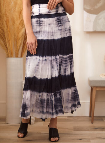 Tie-Dye Maxi Skirt, Blue,  spring summer 2021, bottoms, long skirts, tie dye print, foldable, made in Canada, pull on,