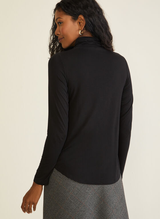 Pleated Mock Neck Sweater, Black