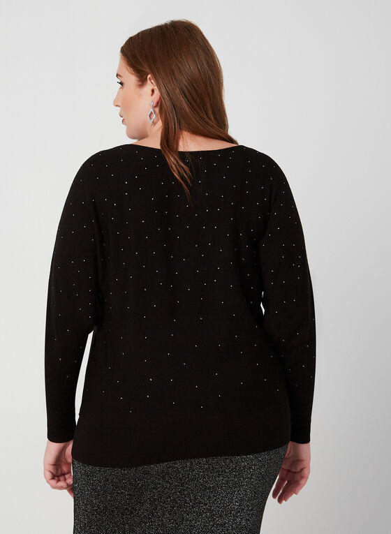 Dolman Sleeve Crystal Sweater, Black, hi-res