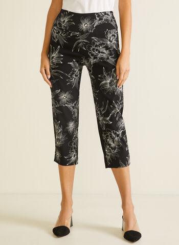 Floral Print Pull-On Capris, Black,  capris, pull-on, floral, slim leg, bengaline, spring summer 2020