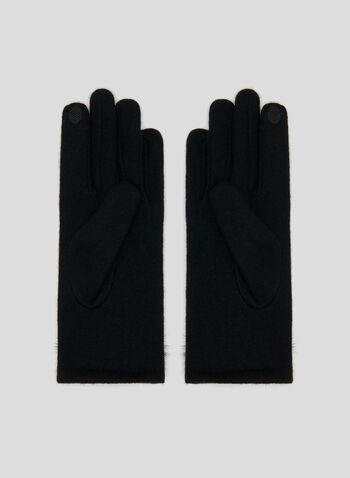 Faux Fur Pom Pom Gloves, Black, hi-res
