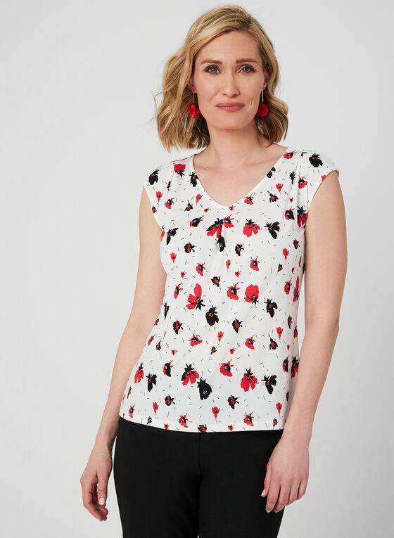 Floral Print Sleeveless Top, White