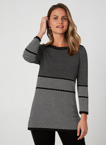 Textured Knit Tunic, Black, hi-res,  knit, sweater, textured, 3/5 sleeves, studs, tunic, fall 2019, winter 2019