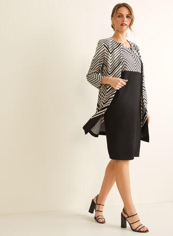 Chevron Print Dress & Cardigan, Black,  dress, day, sleeveless, chevron, waffle knit, set, ensemble, cardigan, shoulder pads, spring summer 2020