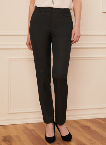 Pinstripe Print Straight Leg Pants, Black,  pants, straight leg, pleats, pinstripe, hook & bar, zip fly, spring summer 2021