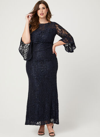 Lace Sequin Bell Sleeve Dress, Blue, hi-res