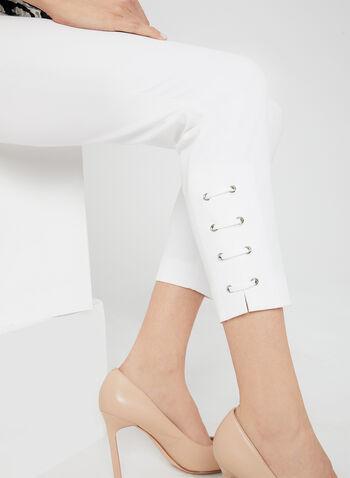 Pantalon coupe cité à détails lacets, Blanc cassé, hi-res,  pantalon, longueur cheville, coton, cité, jambe étroite, lacets, automne 2019