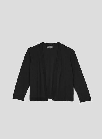 Open Front Knit Bolero, Black, hi-res