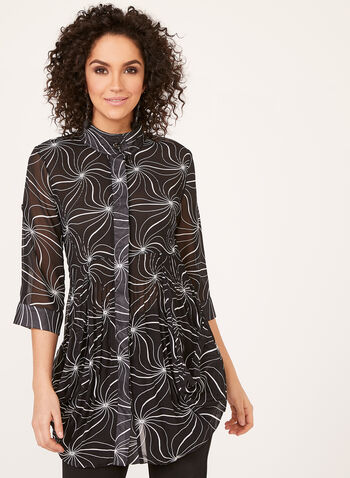 Pleated ¾ Sleeve Tunic, Black, hi-res