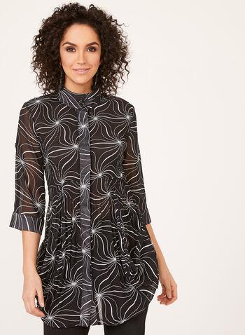 Tunique à effet plissé et manches en mousseline, Noir, hi-res