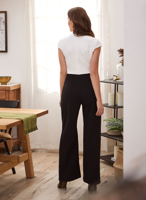 Sleeveless Contrast Jumpsuit, Black