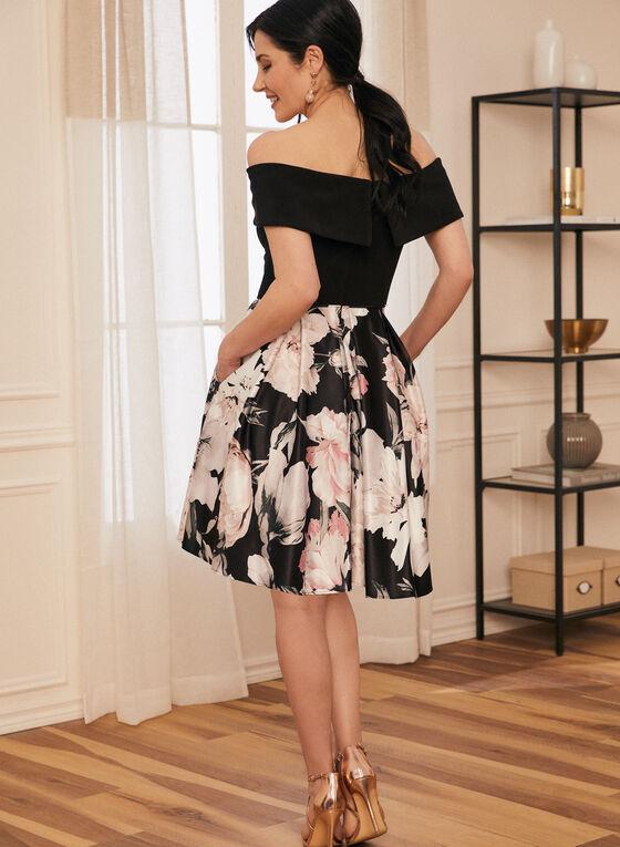 Robe à épaules dénudées et jupe fleurie, Noir