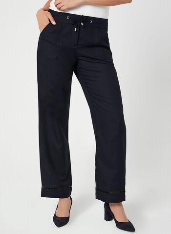 Pantalon à coupe moderne et jambe large, Bleu, hi-res,  taille mi-haute, ceinture contour, hanches courbées, lien à nouer, détail ajouré, lin