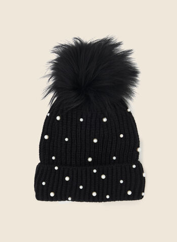 Removable Pom Pom Pearl Detail Hat, Black,  fall winter 2020, hat, knit hat, beanie, tuque, removable pom pom, pompom, acrylic, ribbed, pearl, cuff, fur pompom