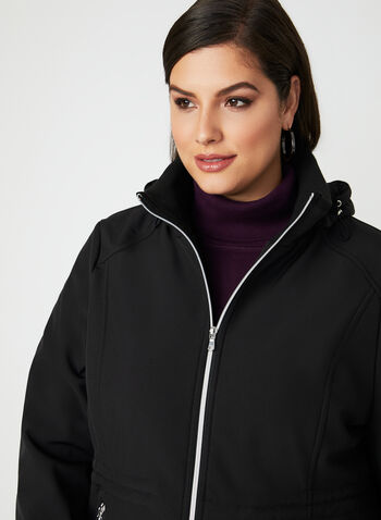 Hooded Softshell Anorak, Black, hi-res