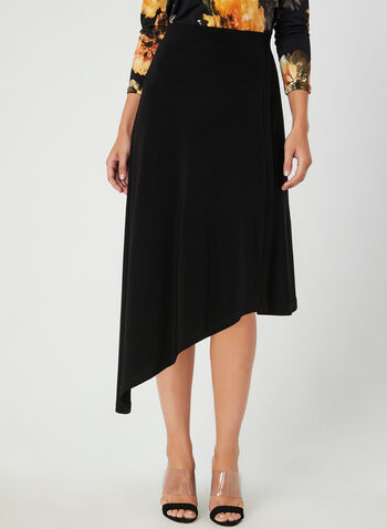 Jersey Asymmetric Skirt, Black, hi-res,  jersey, fall winter 2019, pull-on, asymmetric hem, faux wrap