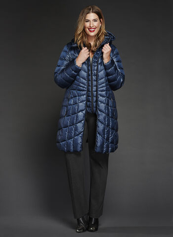 B by Bernardo - PrimaLoft® & Down Filled Packable Coat , Blue, hi-res