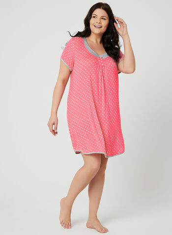 René Rofé - Dot Print Nightgown , Pink, hi-res