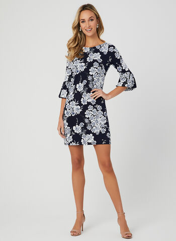Floral Print Bell Sleeve Dress, Blue, hi-res