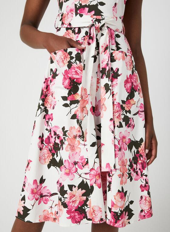 Robe fleurie et ceintrée en coton, Rose, hi-res