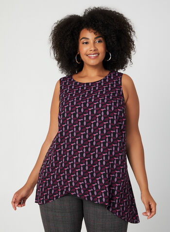 Geometric Print Sleeveless Top, Purple, hi-res,  fall winter 2019, chiffon, sleeveless, top, blouse, scoop neck, plus