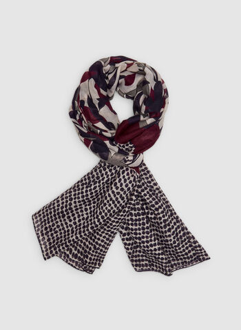 Floral Print Scarf, Red,  dot print, floral print, border, fall 2019, winter 2019