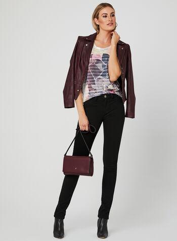 Crystal Embellished Burnout Tee, Purple, hi-res