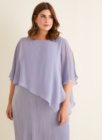 Metallic Poncho Dress, Purple,  spring summer 2020, sleeveless, poncho, cold-shoulder, pearl detail, metallic fabric
