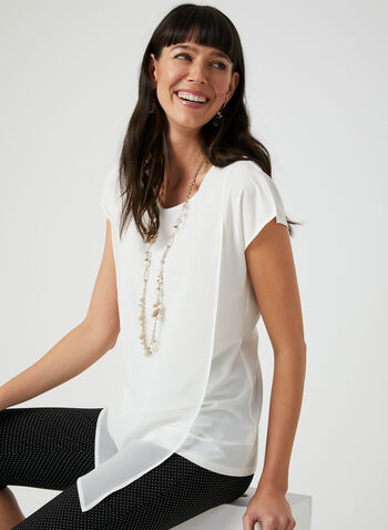 Layered Chiffon Top, Off White, hi-res
