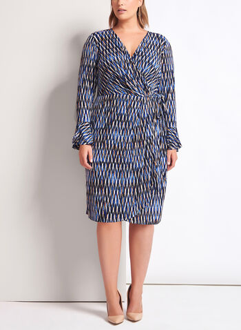 Geometric Print Faux Wrap Dress, Blue, hi-res