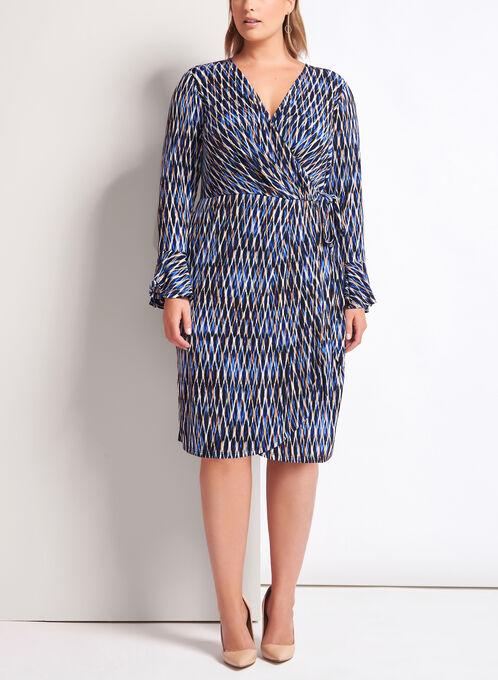 Geometric Print Faux Wrap Dress, Blue, hi-res