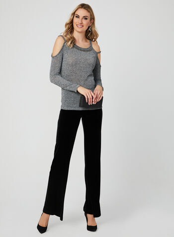 Ness - Metallic Cold Shoulder Top, Grey, hi-res