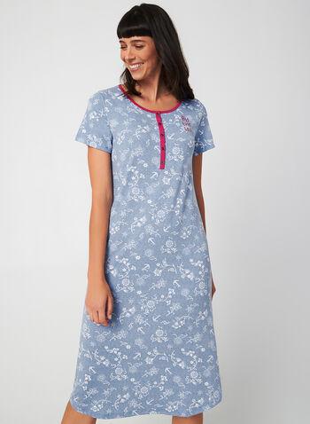 Claudel Lingerie - Floral Nightgown, Blue,  Claudel Lingerie, sleepwear, nightgown, pyjama, fall 2019, winter 2019