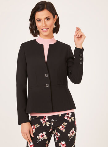 Semi Fitted Collarless Cropped Blazer, Black, hi-res