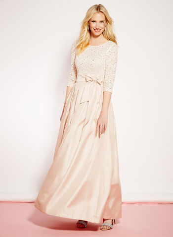 3/4 Sleeve Sequin & Lace Gown, , hi-res