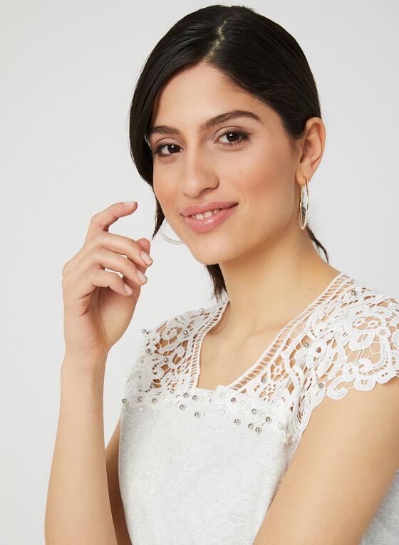 Ness - T-shirt à détails crochet et perles, Gris, hi-res