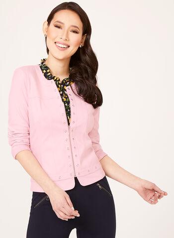 Faux Suede Grommet Detail Jacket, Pink, hi-res